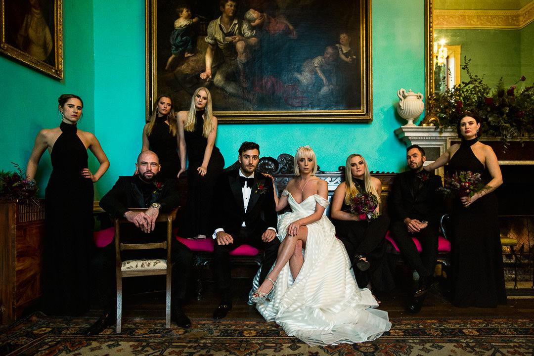 alternative wedding groups photo at walcot hall