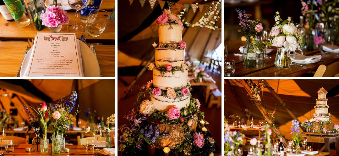 wedding cake, flowers and stationary details