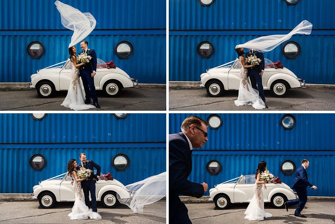 wedding veil blows away during wedding portraits at trinity buoy wharf