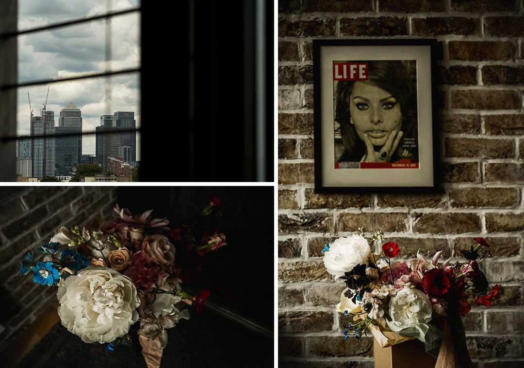 wedding bouquet displayed in natural light with industrial backdrop