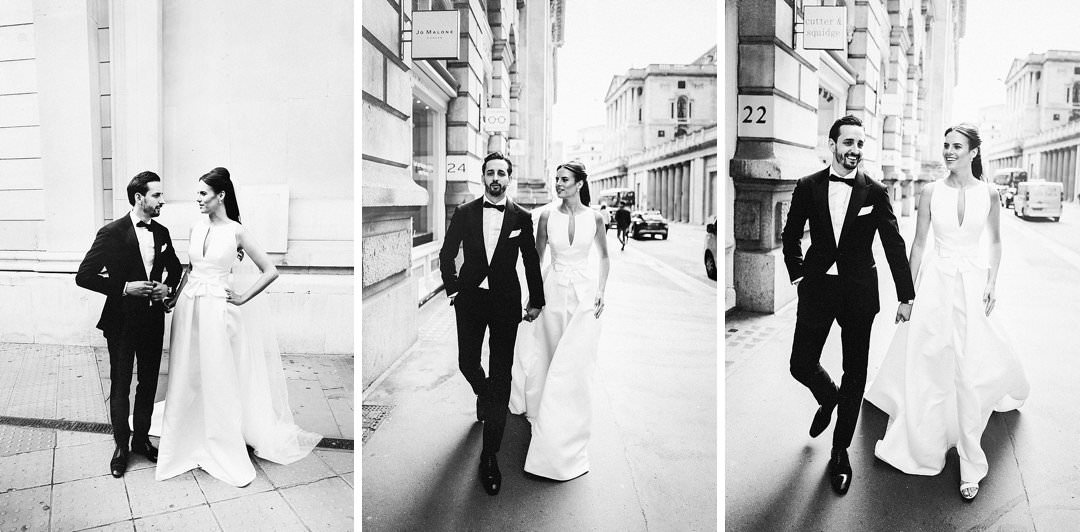 classic black and white portraits of bride and groom on the streets of London