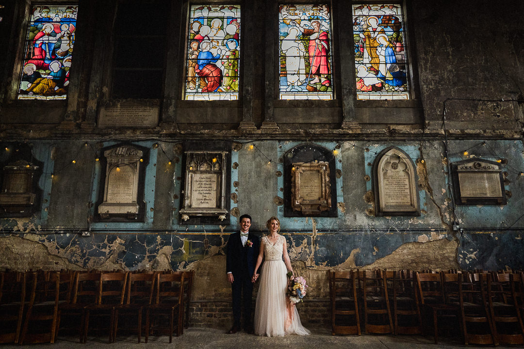 wedding portrait in natural light at the stunning asylum chapel in London