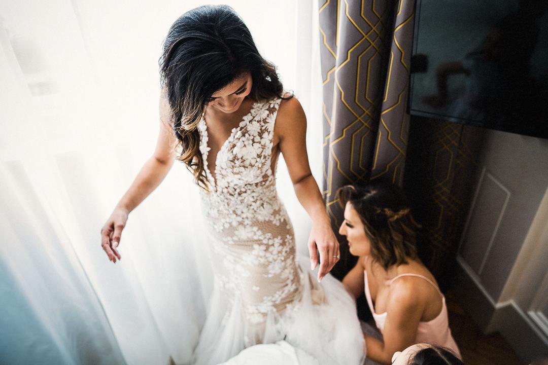 wedding dress alterations from bridesmaid at a London wedding