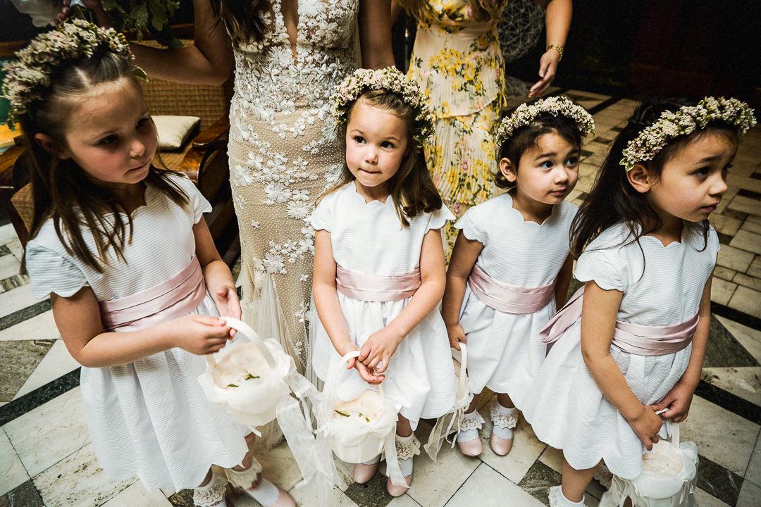 flower girls wearing flower crowns at an east London wedding venue