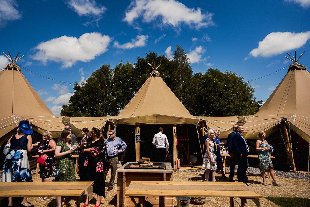 A wedding tipi below a blue sky