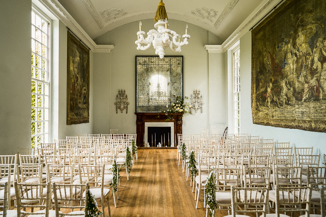 the wedding ceremony room at Cornwall manor