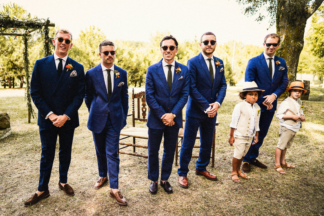 Groom and Groomsmen before the wedding ceremony at Chateau Lartigolle