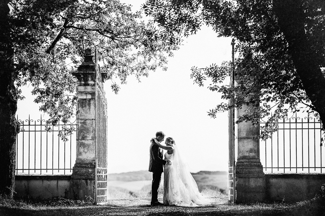 A Wedding portrait shot at the gates of Chateau Lartigolle