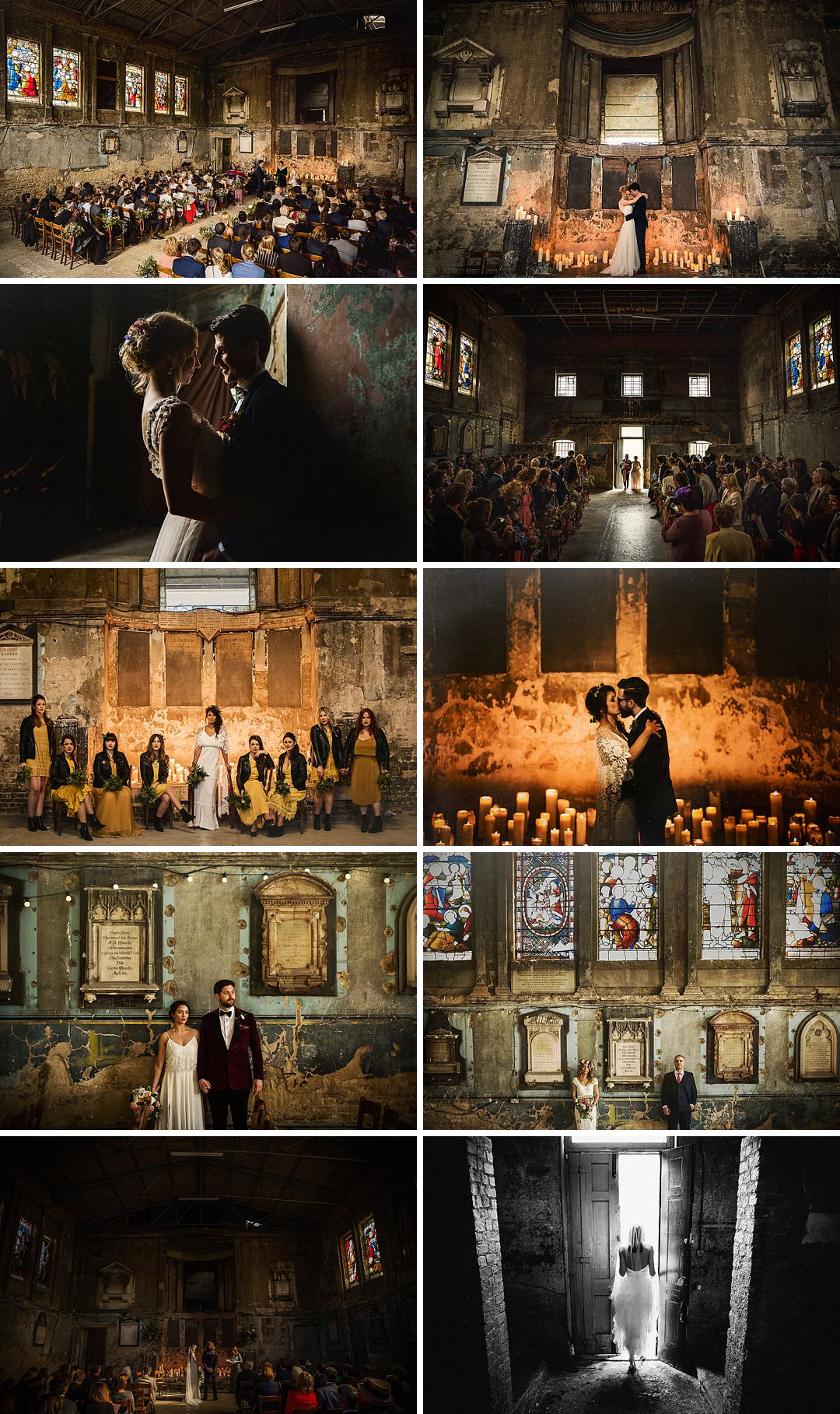 a selection of favourite images shot at the asylum chapel in Peckham by alternative London wedding photographer matt parry
