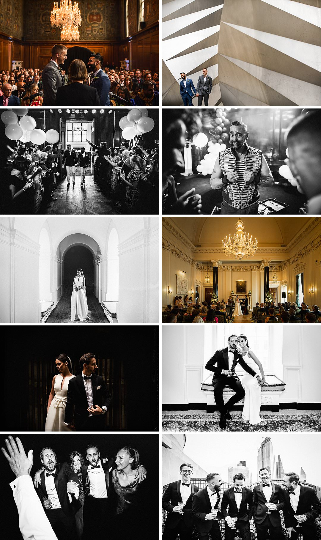 a series of images showing a selection from 2 wedding photographed at the NED in London by London Wedding Photographer Matt Parry