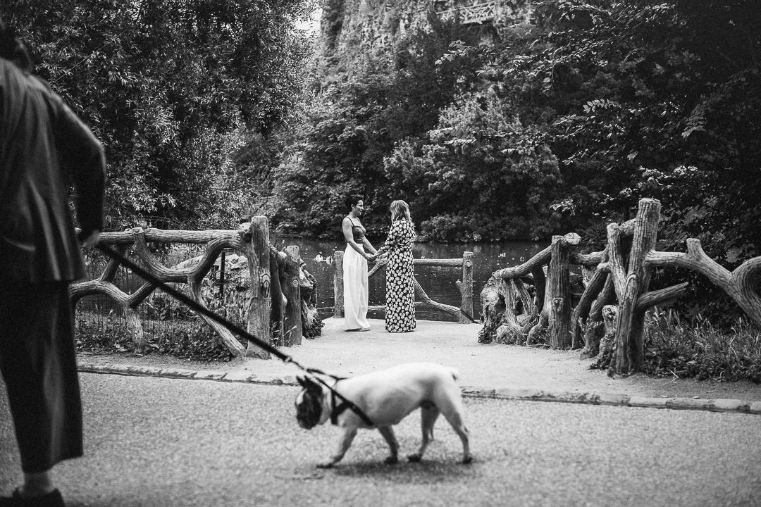 a French bulldog walks past a same sex elopement by a lake in a paris park