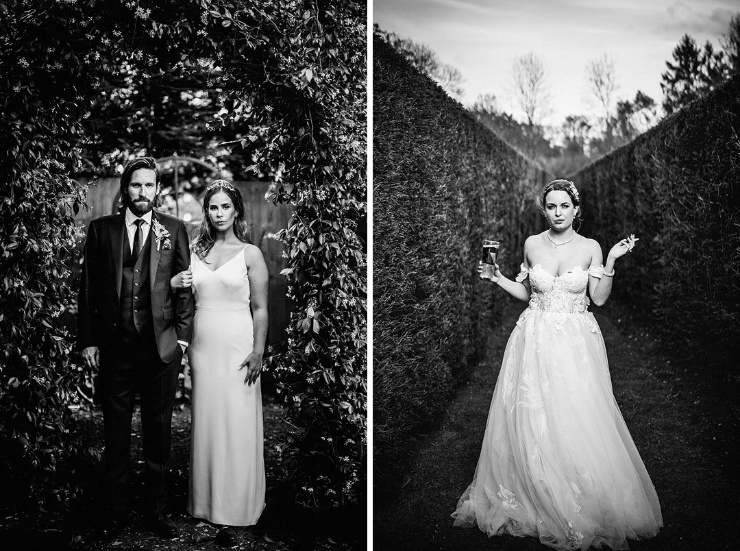 2 alternative wedding portraits side by side. one of a couple beneath an arch of foliage and the other of a bride holding a pint of beer and smoking a cigarette
