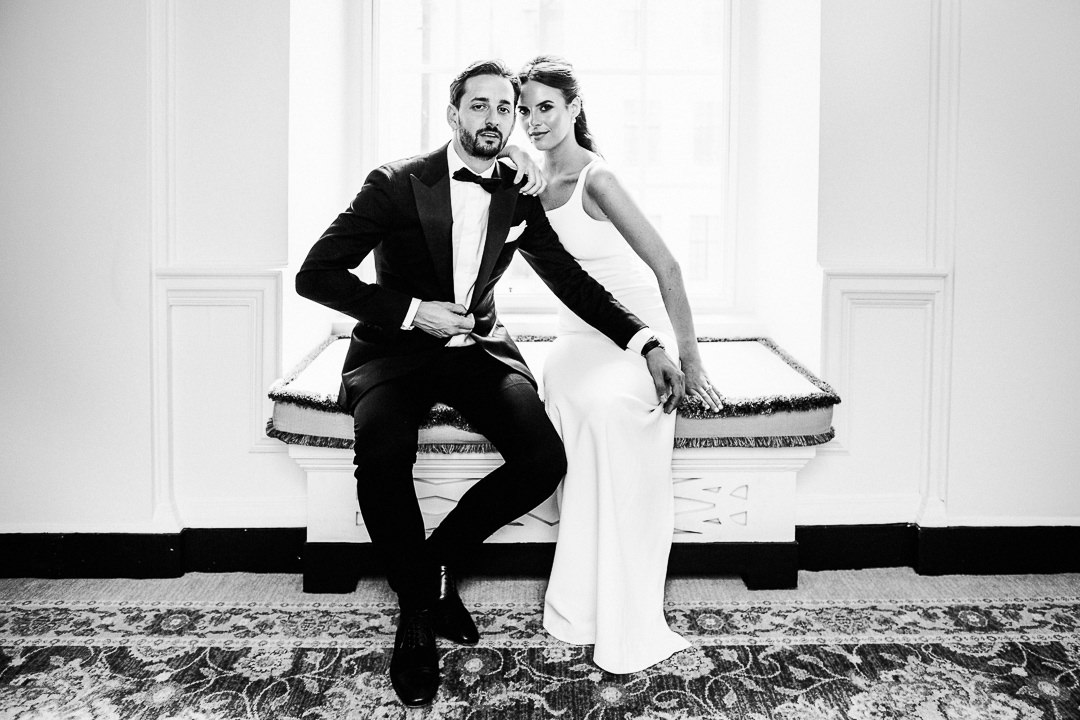 elegant black tie wedding couple shot at the ned in London