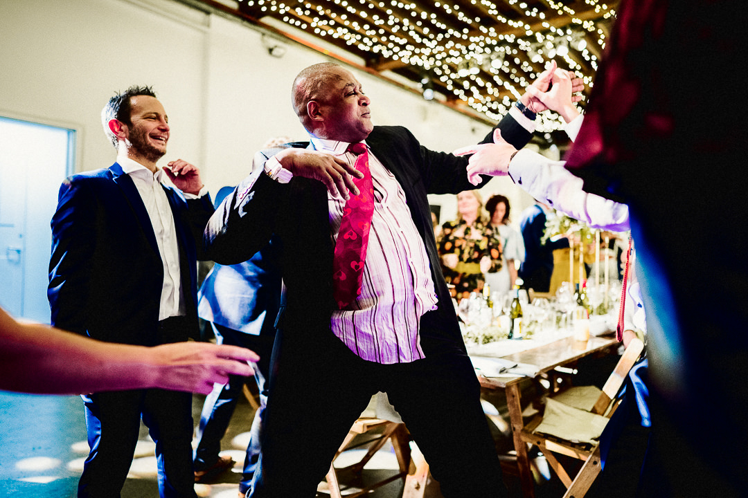 guest dancing at a wedding celebration in London