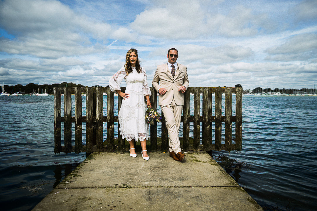 An alternative seaside wedding portrait