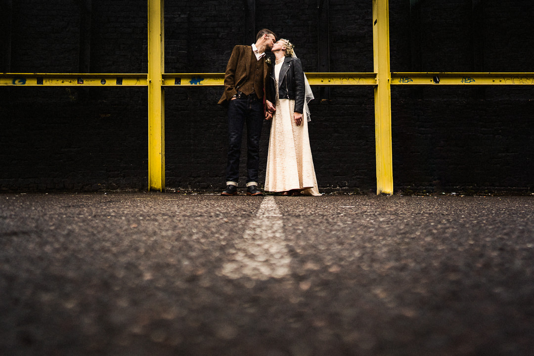 a couple portrait shot in East London after a micro wedding at Hackney Townhall
