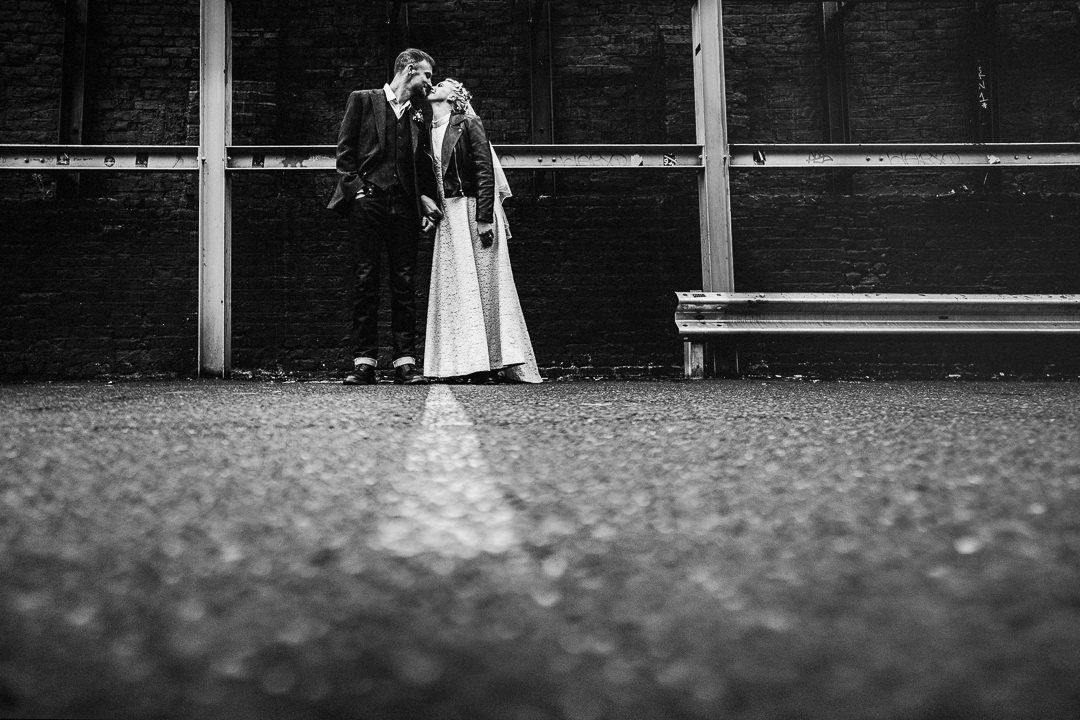a wedding portrait in black and white shot after a Covid restricted wedding in London