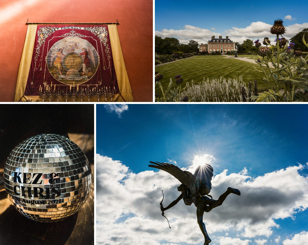 a mosaic of detail and scene setting shots from a Dorset wedding at st Giles house