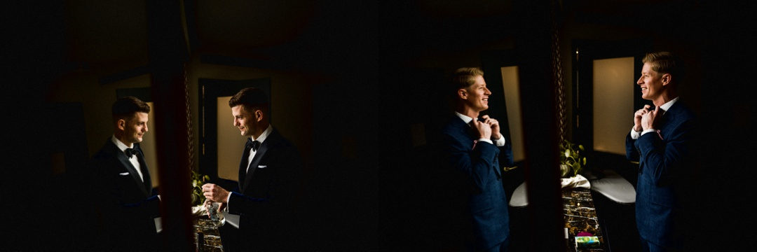 a mosaic of groom prep images at the Hoxton hotel London