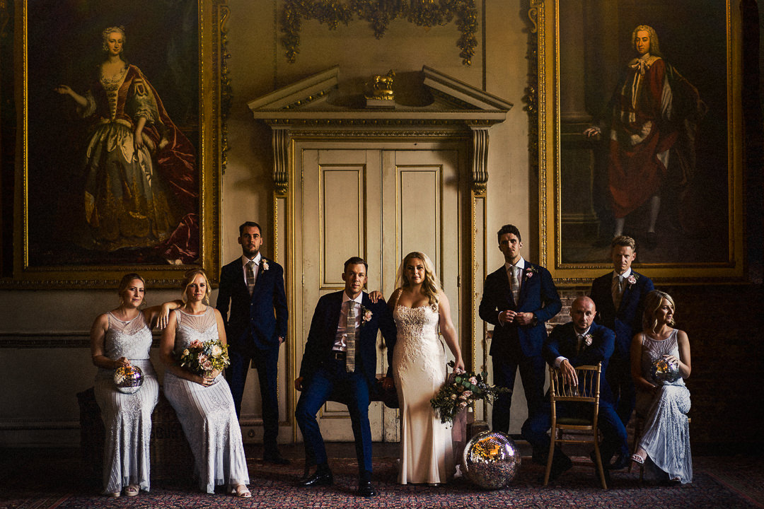 a wedding party groups shot in a more moody and contemporary style